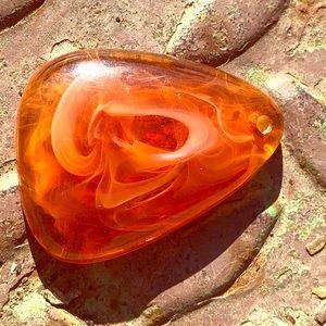 Orange Marbleized Lucite Pendant